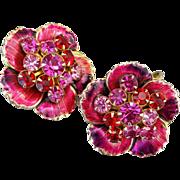 SOLD Gorgeous Vintage Earrings Fuchsia Red Purple Rhinestones Enameling