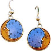 SALE Crescent Moon Stars Blue Sky Pierced Earrings Gold Filled