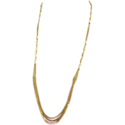 SOLD Extra Long 14k Yellow Gold Necklace Multi Strand 20.6 Grams