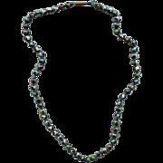 Vintage Knotted Cloisonne Bead Necklace Multi Color Fluid