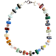 SALE Fabulous Natural Semi Precious Gemstone Necklace with Sterling Clasp