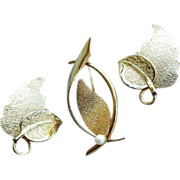 SALE 1960s Brooch with Real Pearl and Earrings 12k Gold Filled