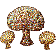 Magnificent Rhinestone Encrusted Mushroom Brooch & Earrings 1960s - 1970s Demi Parure