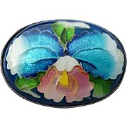 Exquisite Japanese Orchid Ando Cloisonne Brooch Enamel Over Silver