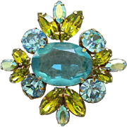 Large Vintage Juliana Rhinestone Brooch or Pendant Aquamarine Blue Light Olive