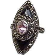 Sterling Silver Onyx and Marcasite Ring Pink Cubic Zircon October Size 7-1/2
