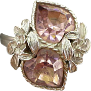 Vintage Sarah Coventry Birthstone Ring Heart Shaped Rhinestones Pink October
