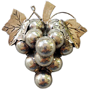 Sterling Silver Brooch Cluster of Grapes Large Heavy 25.5 Grams .925