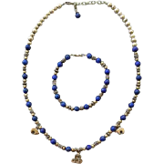 Sterling Silver Pueblo and Lapis Necklace with Bracelet Bear Fetish 40.6 grams
