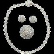 1960s Cut Crystal Parure Necklace Brooch Earrings Wedding Wear