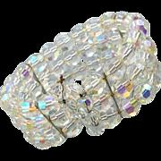1960s Cut Crystal Stretch Bracelet Aurora Borealis Wedding Wear