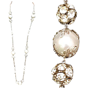 1960s Long Vintage Faux Pearl and Rhinestone Necklace Gorgeous