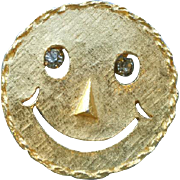 Original 1960s Smiley Face Brooch or Necklace Rhinestone Eyes Happy Face Pin