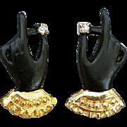 SALE Vintage Earrings Hands or Gloves Rhinestone Clip on