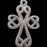 SALE Sterling Silver Bracelet Charm Crucifix Cross in Hearts .925