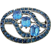 Large Size 1920's - 1930's Blue Rhinestone Brooch Emerald Cuts