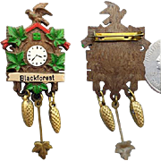 SALE Miniature Black Forest Cuckoo Clock Brooch Doll House Fun