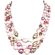 1960s Pink Necklace Faceted Glass Crystals Art Beads