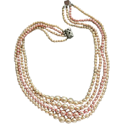 1950s Classic Pearl Necklace Four Strand Faux Pink Beige Pearl Beads
