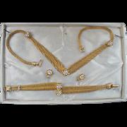 SALE PENDING Vintage 1960s Rhinestone Parure Necklace Bracelet Earrings MIB