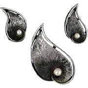 1960s Dramatic Brooch, Earrings with Pearls Vintage Mid Century