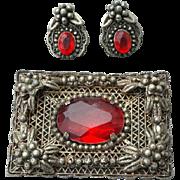 1930s Red Rhinestone Brooch With Earrings Bohemian Demi Parure
