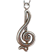 Sterling Silver Musical Treble Clef Charm Bracelet 7 grams