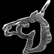 SALE 14k White Gold Bracelet Charm or Pendant Bronco Horse  .5 grams
