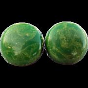 SALE Swirling Green Vintage Bakelite Earrings Clip Mint