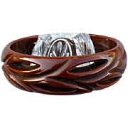 Vintage Carved and Pierced Bakelite Bangle Bracelet Chocolate Brown