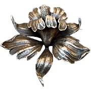 Large Cini Sterling Silver Orchid Brooch Signed Guglielmo 33.8 grams