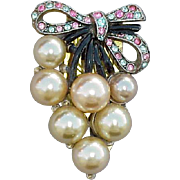 Large Vintage Dress Clip Rhinestones & Faux Pearls 1930s Gorgeous