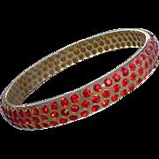 1920s Celluloid Bangle Bracelet Red Rhinestones Roaring Twenties