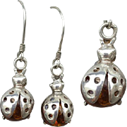 SALE Sterling Silver Lady Bug Earrings with Real Amber Belly 3.9 Grams