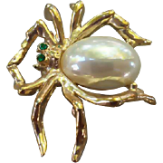SALE Vintage Spider Bug Brooch Faux Pearl Belly Christmas Spider