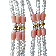 Carved Angel Skin Coral and Pearl Necklace Extra Long Triple Strand
