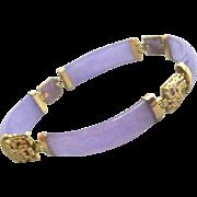 SOLD 14kt Gold and Lavender Jade Bracelet Fancy Fittings