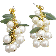 SALE Vintage Snowberry Earrings Cascading Faux Pearls Snow Berry