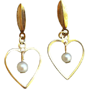 SALE Tiny Vintage Heart Earrings with Real Pearls GF Child's Jewelry