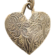 Sterling Silver Brocade Heart Necklace Fine Sterling Chain Valentines Day