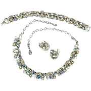 Iconic 1960s Coro Rhinestone Parure Necklace Bracelet Earrings 3 Piece Set