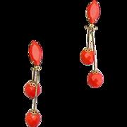 SALE Sleek Mid Century Modern Red Glass Earrings