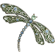 Wonderful Dragonfly Brooch Rhinestones Plique a Jour