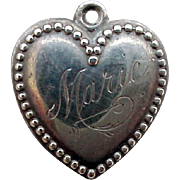SALE Vintage Sterling Silver Puffy Heart Charm Engraved for Marie