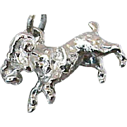 SALE Vintage Zodiac  Aries the Ram Sterling Silver Bracelet Charm Beau Designer Unworn