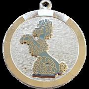 SALE Vintage Sterling Silver Poodle Dog Charm for Bracelet