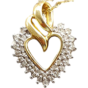 SALE Vintage Heart Necklace 14k Yellow and White Gold with Diamonds with Chain