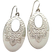 SALE Exotic White on White Enamel Earrings Pierced Elegant Costume Jewelry
