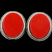 SALE Vintage Red Bakelite Earrings Clip on Early Plastic