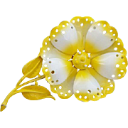 1960 Designer Yellow and White Enamel Flower Brooch Hedy